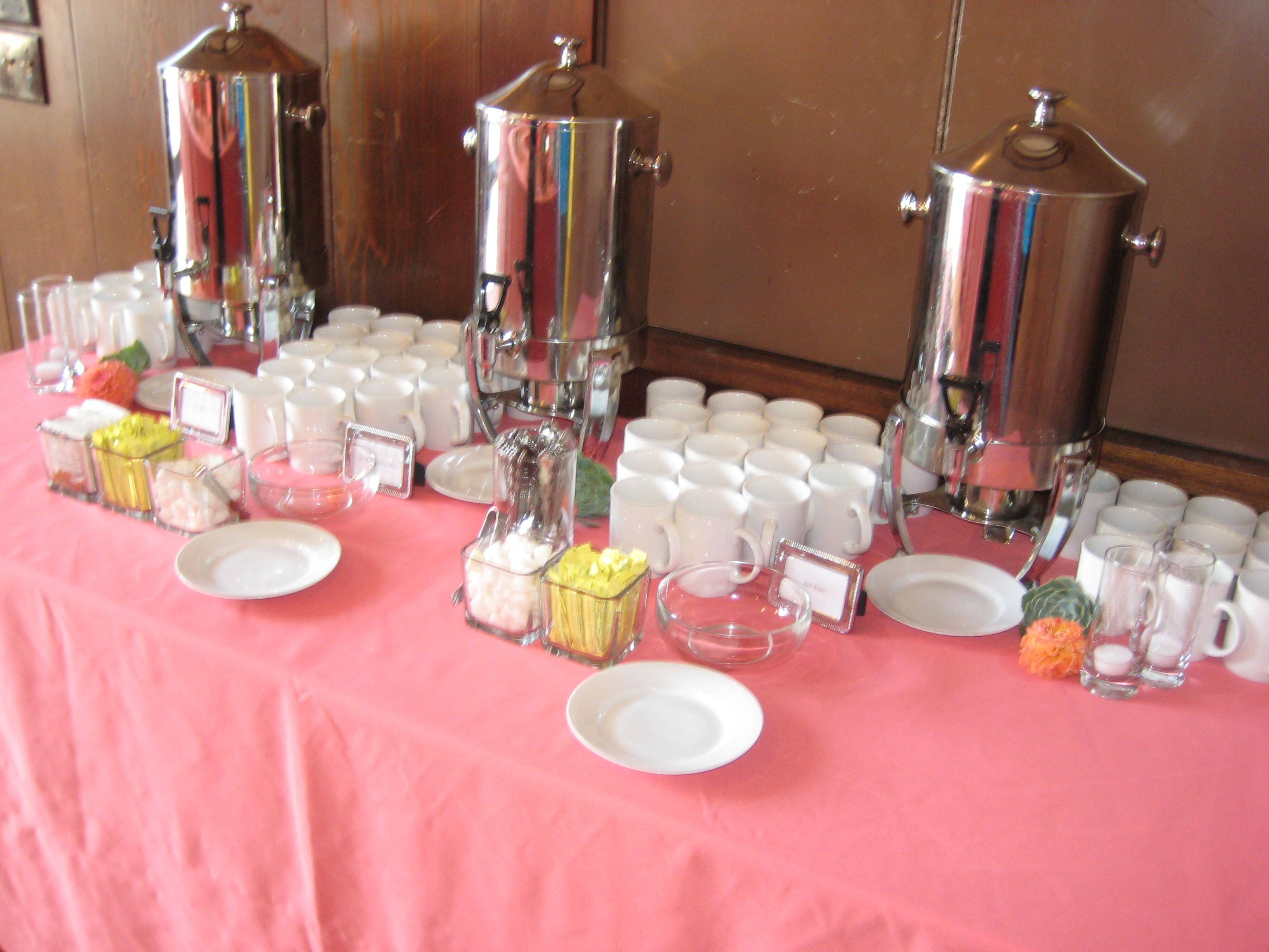 Hot beverage station colorful melon linens wedding styles