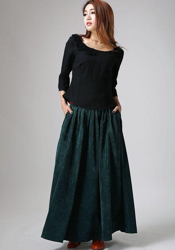 6343407a22 Teal Green maxi skirt long Corduroy Winter Skirt by xiaolizi ...