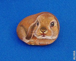 Hand painted rock. Mini lop bunny by Alika-Rikki, via Flickr