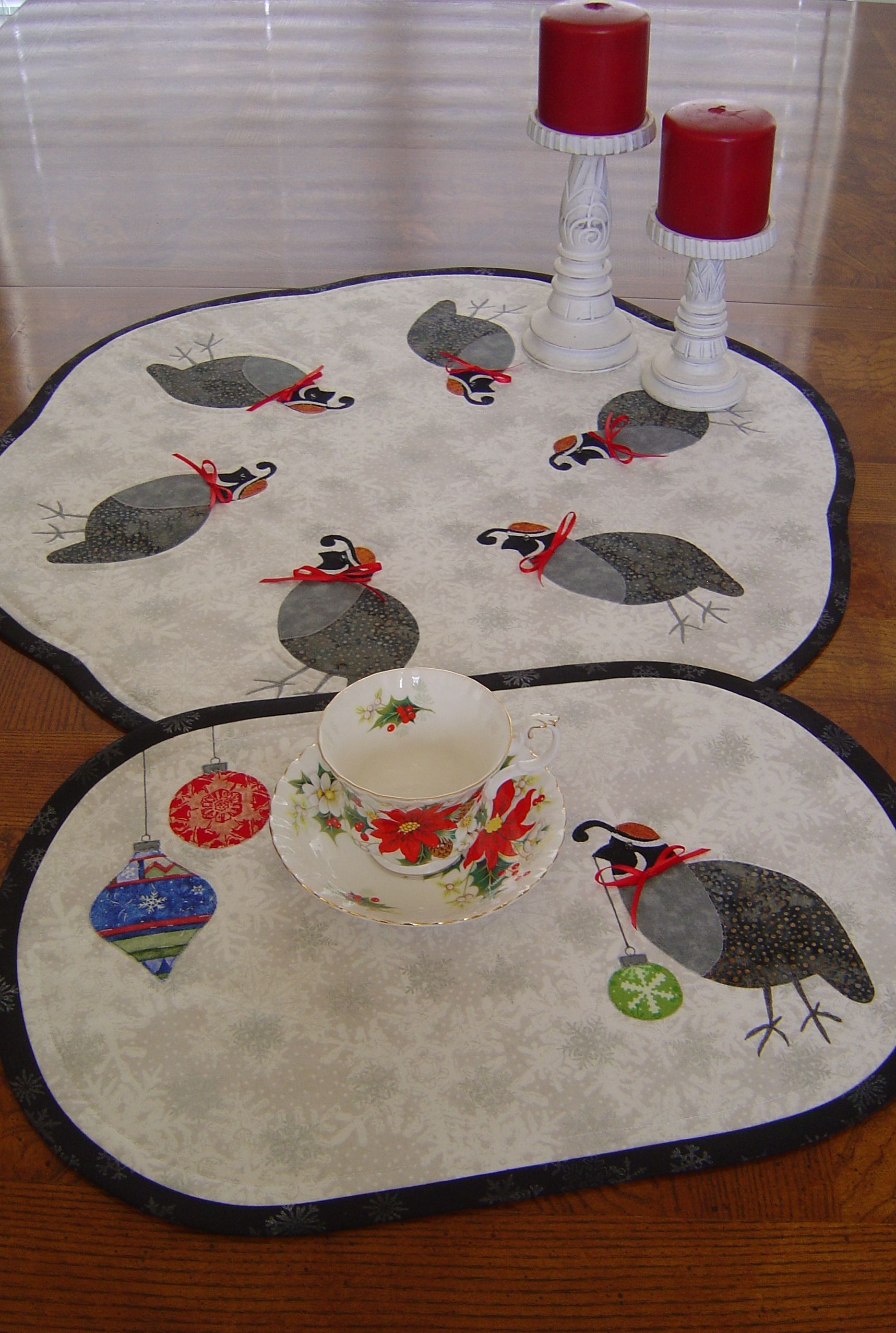 Christmas Covey From Trouble Boo Designs Quail Table Topper Or
