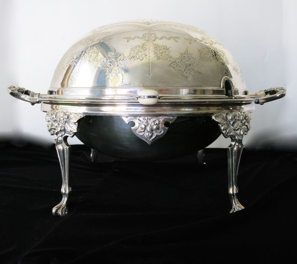 RARE Antique Silver Plated SERVER Revolving Dome 14981 England hard soldered WH  #WHS