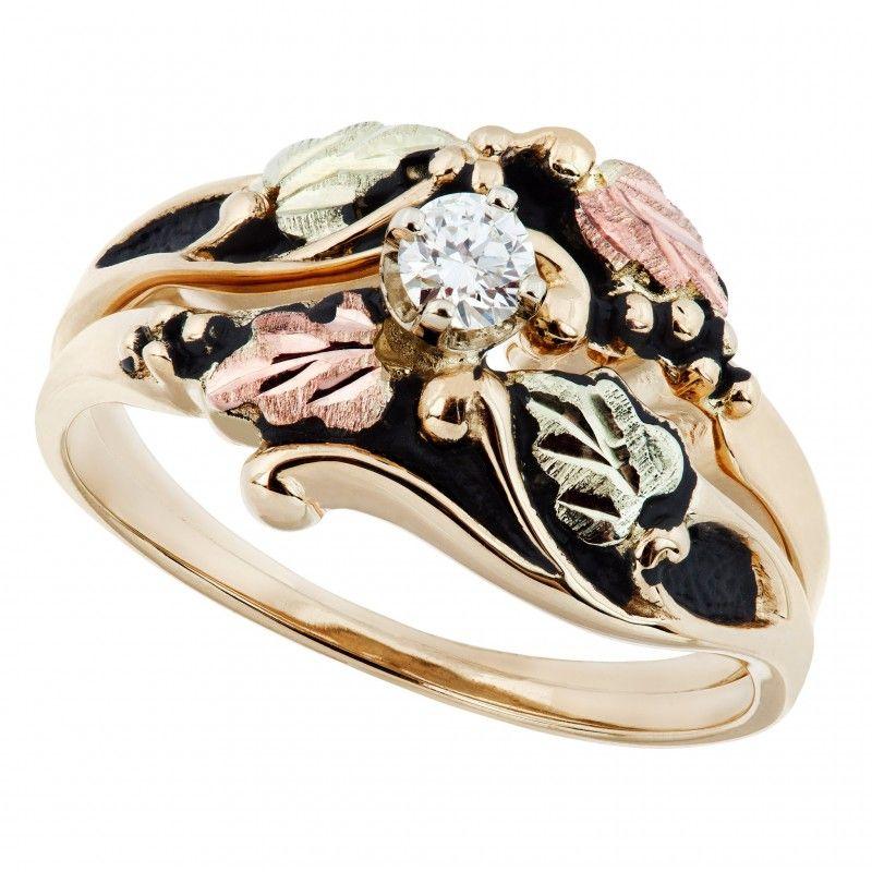Antiqued Black Hills Gold Diamond Engagement Wedding Ring Set Blackhillsgold Direct Klugex In 2020 Black Hills Gold Jewelry Black Hills Gold Rings Black Hills Gold