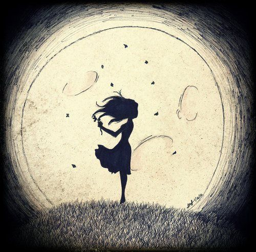 Lots Of Black A Silhouette And The Moon Simple Dark Beautiful