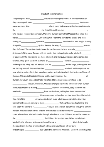 Macbeth Summary Cloze And Wordsearch Worksheet Lesson Teaching Shakespeare Lessons Paraphrase Act 3