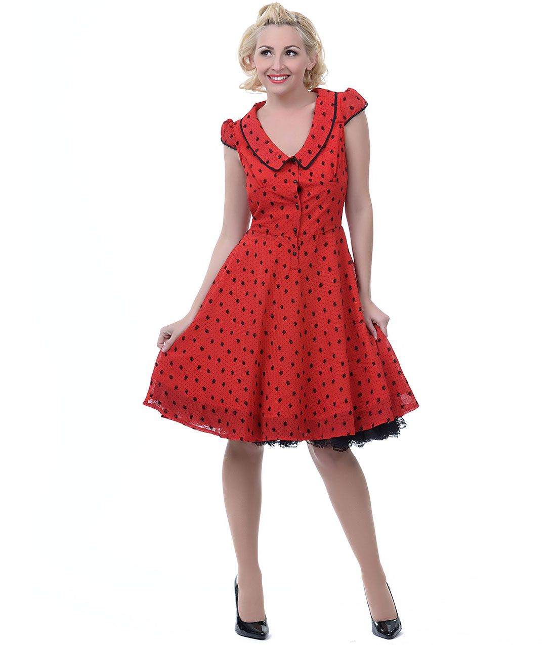 Red polka dot u rose chiffon swing dress unique vintage prom