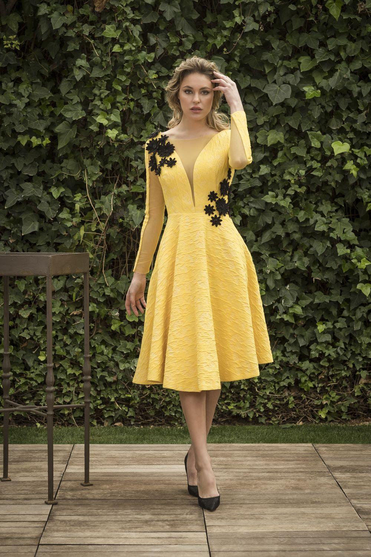 Vestidos coctel amarillos 2019
