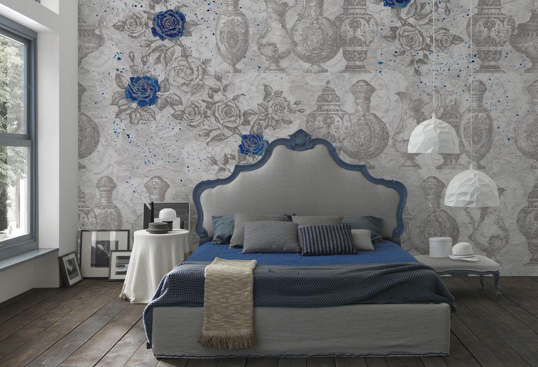 Carta Da Parati Con Rose Blu Vintage Romantica Per Camera Da Letto Carta Da Parati Idee Per Decorare La Casa Idee Di Interior Design