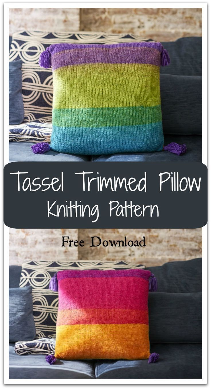 Cozy handmade pillow is easy enough for beginners. Just knit 2 ...