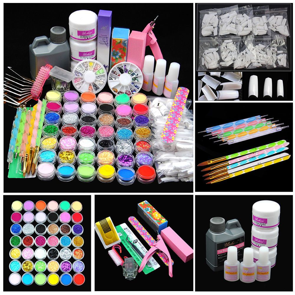42 Acrylic Nail Art Tips Powder Liquid Brush Glitter Clipper Primer File Set Kit 648839593814 Ebay Nail Care 1 X Acrylic Nail Set Nail Art Tool Kit Nail Kit