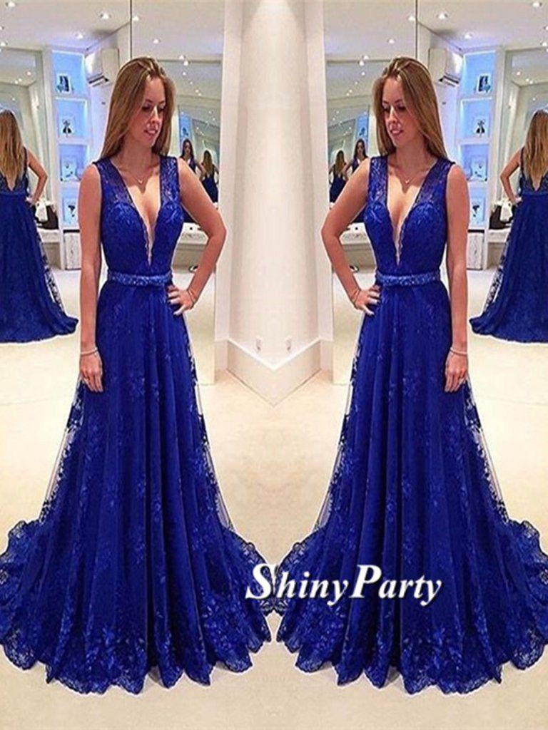 8fb4382ac758a A Line V Neck Sweep Train Royal Blue Lace Prom Dress, Royal Blue Lace  Formal Dress #shinyparty #prom #dress #formal #dresses #royalblue #lace  #lacedress ...