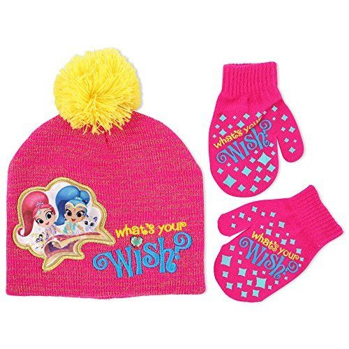 5388af32c2e Nickelodeon Toddler Girls Shimmer and Shine Hat and Mitten Cold Weather Set