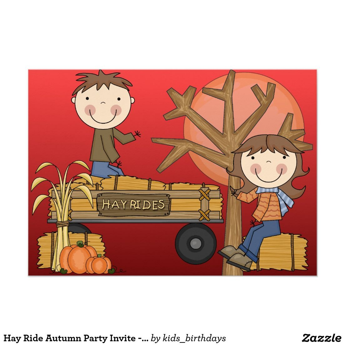 Hay Ride Autumn Party Invite -African American boy | Kids Birthday ...