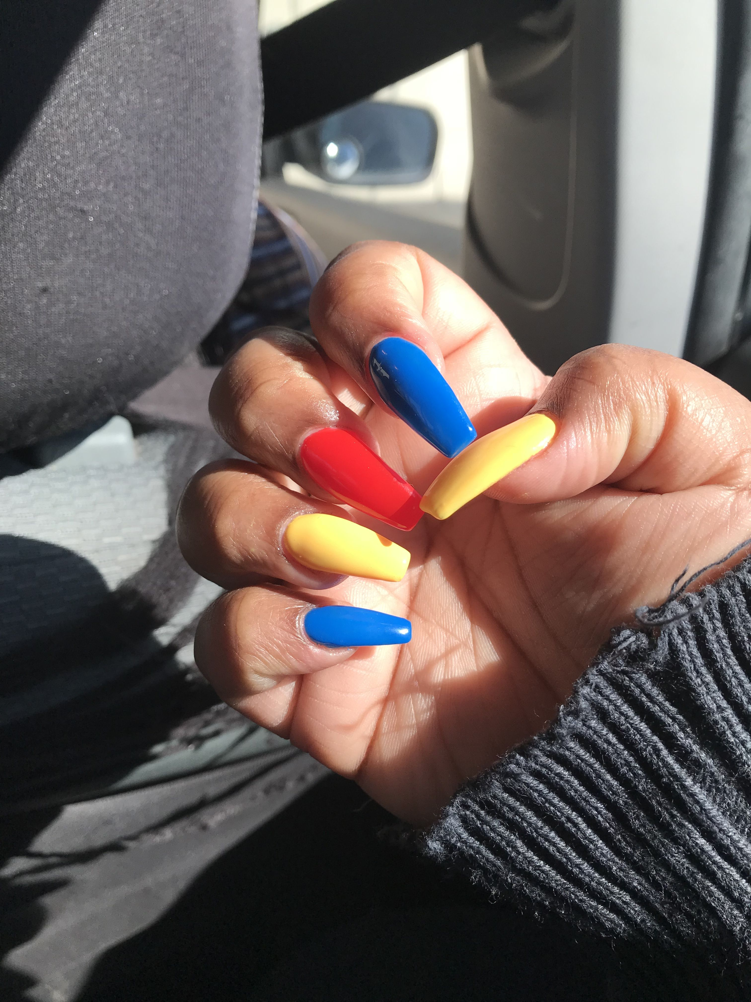 Primarycolors Nails Yellow Blue Red Aesthetic Blue Acrylic Nails Blue Nails Blue Nail Designs