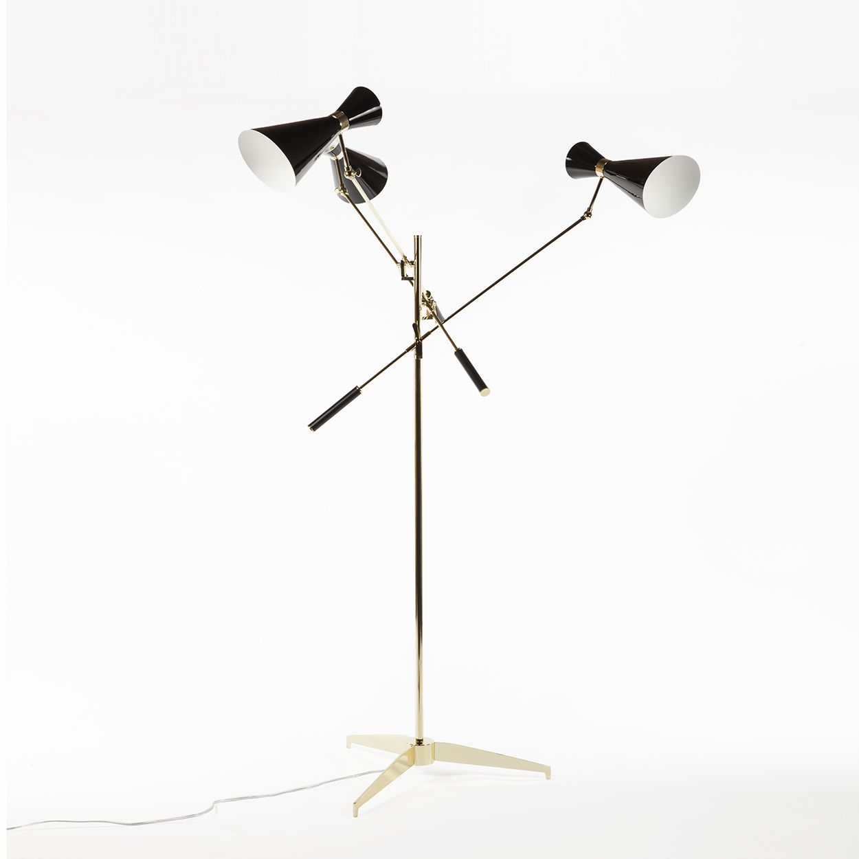 Triennale floor lamp three arms and double cone shades gold triennale floor lamp three arms and double cone shades gold geotapseo Gallery