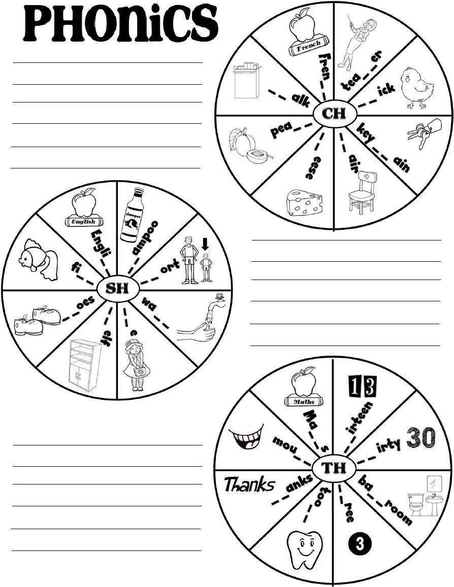 PHONICS CH-SH-TH (worksheet) | фонетика | Pinterest