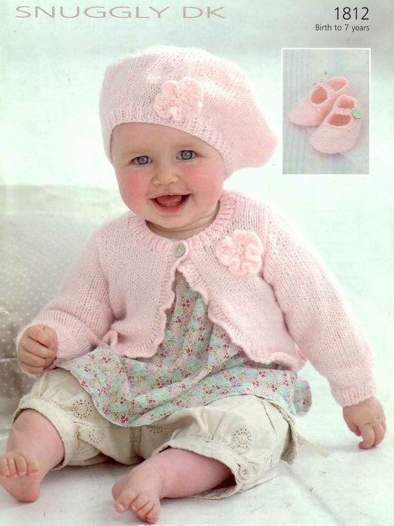 Cardigan Beret Shoes Vintage Knitting Pattern flower Knit booties ...