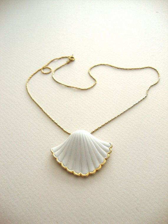 Photo of Gold Sea Shell Necklace : Golden Waves vintage gold tone seashell with white enamel details
