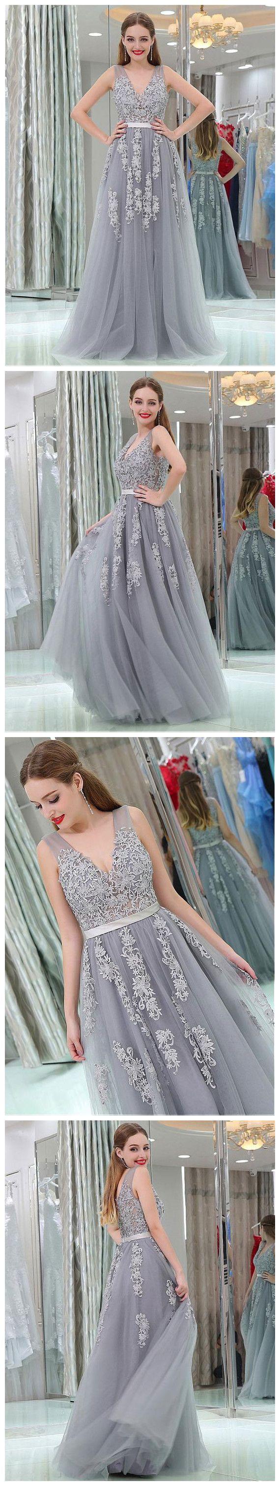 Chic silver prom dresses long aline v neck applique prom dress