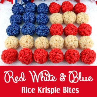 Red White and Blue Rice Krispie Bites