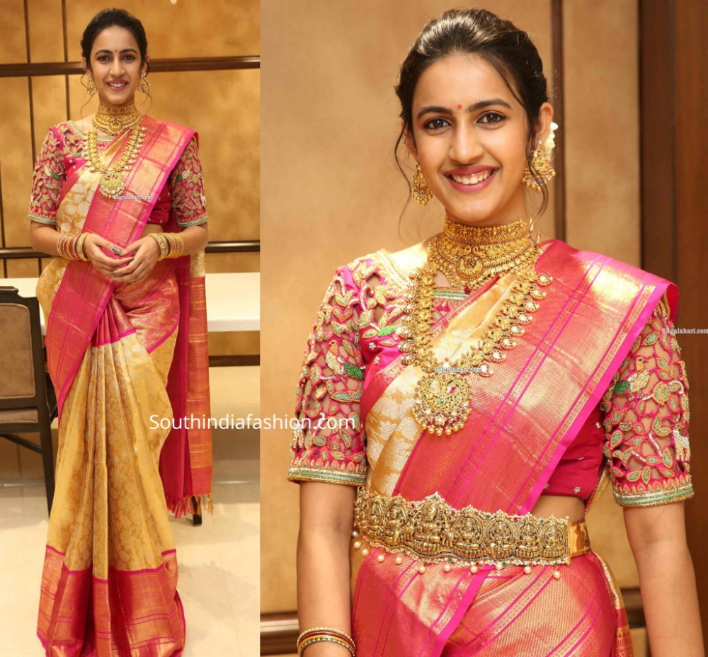 Niharika Konidela in a gold Kanjeevaram saree South