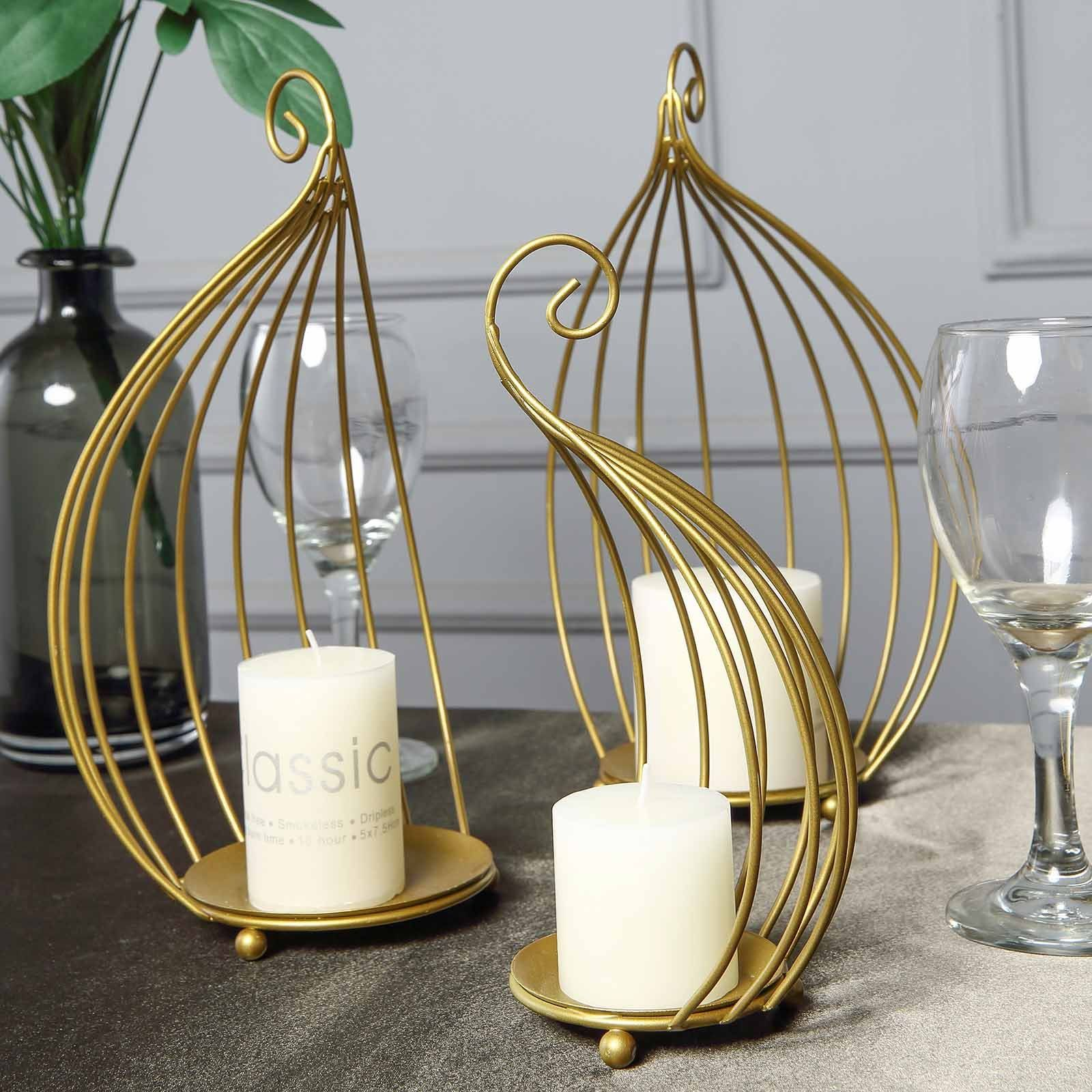 Hanging Wrought Iron Candle Holder Set For Centerpieces Set Of 3 Metallic Gold Bird Cage Candle Holder Set In 2020 Wrought Iron Candle Holders Iron Candle Holders Wrought Iron Candle