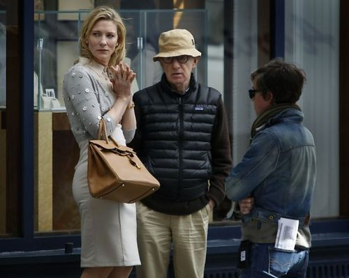 Cate Blanchett and Woody Allen on-set of Blue Jasmine (2013)