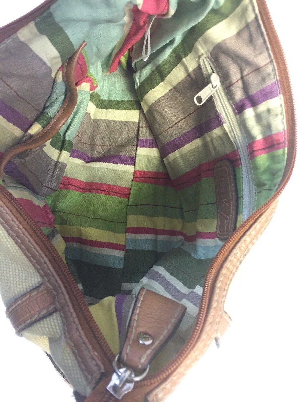 Fossil Modern Vintage Handbag Large Tan Beige Canvas Brown Leather Bag Purse Ebay