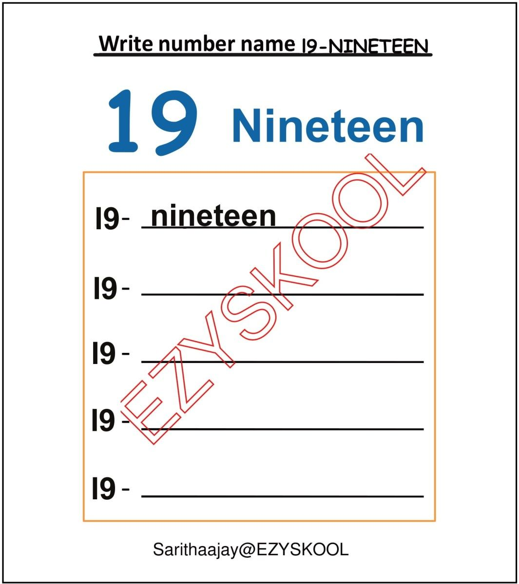 Number Name 19 Nineteen In