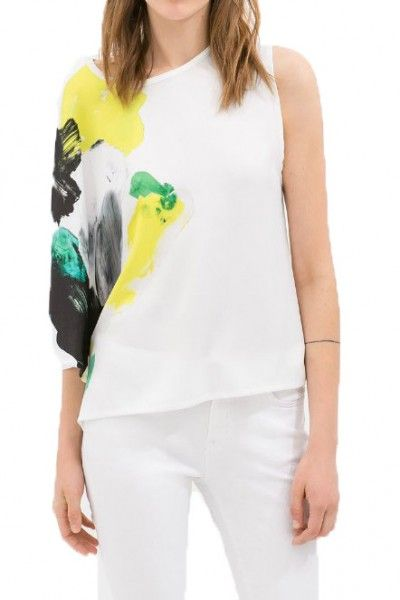 KCLOTH Pop Art Painting Printed Casual Irregular Sleeves Tee