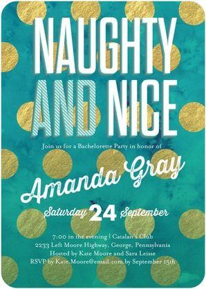 Beautifully Naughty Signature White Bachelorette Party Invitations