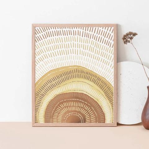 Modern Mid Century Sunrise Wall Art Print or Canva