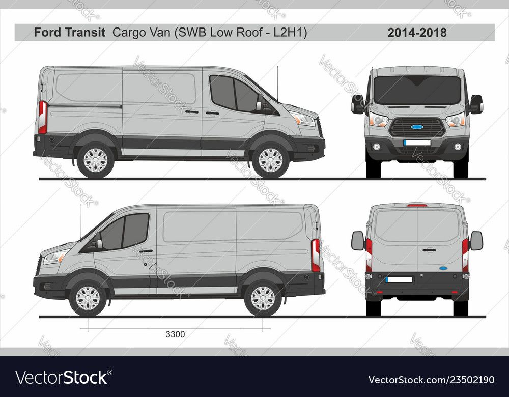 Ford Transit Cargo Delivery Van Short Wheel Base Low Roof L2h1 2014 2018 Detailed Template For Design And Production Of Vehicle Wraps Ford Transit Van Ford