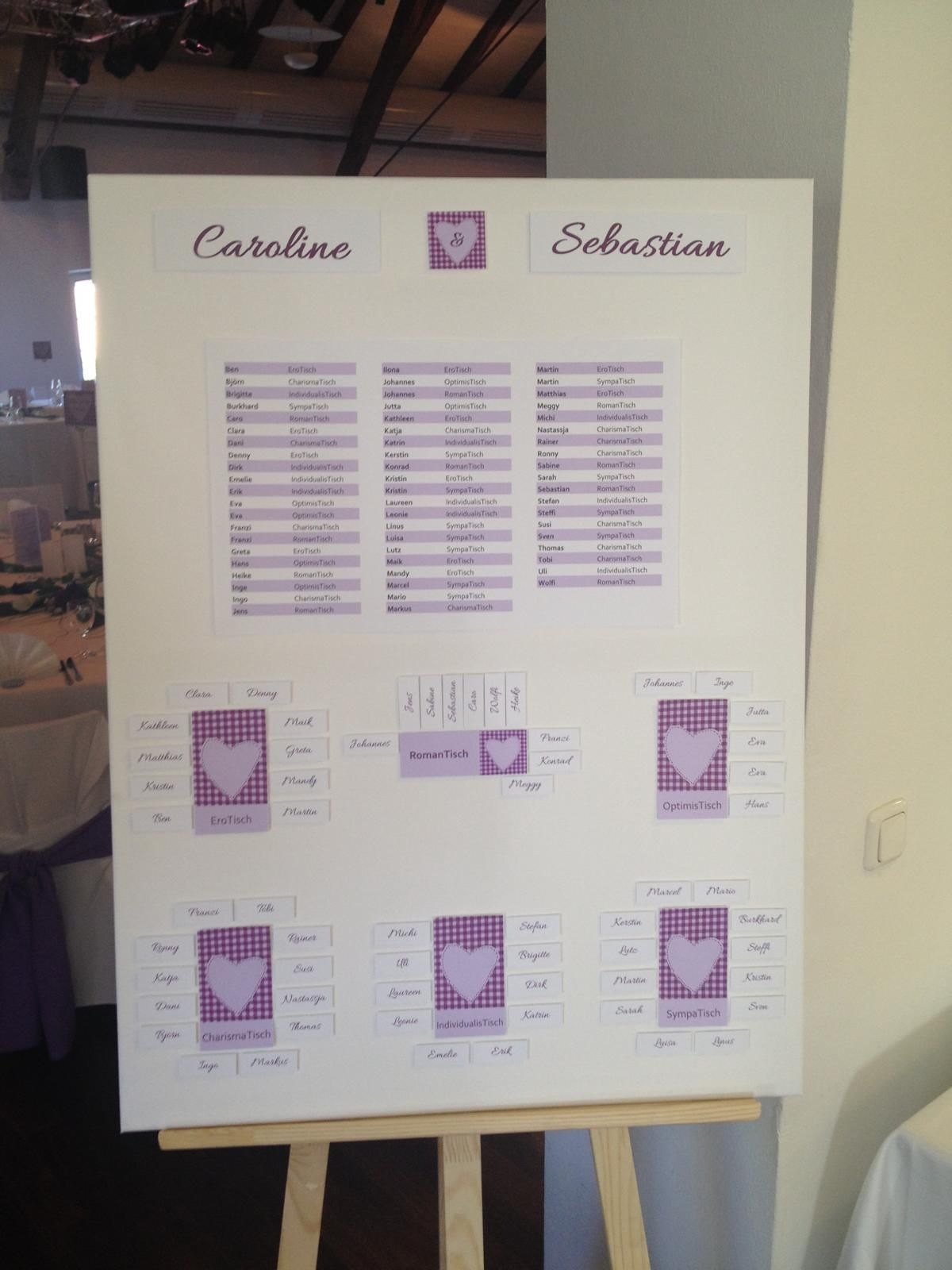 Sitzplan Hochzeit seating plan Rahmen Staffelei Tischkarten