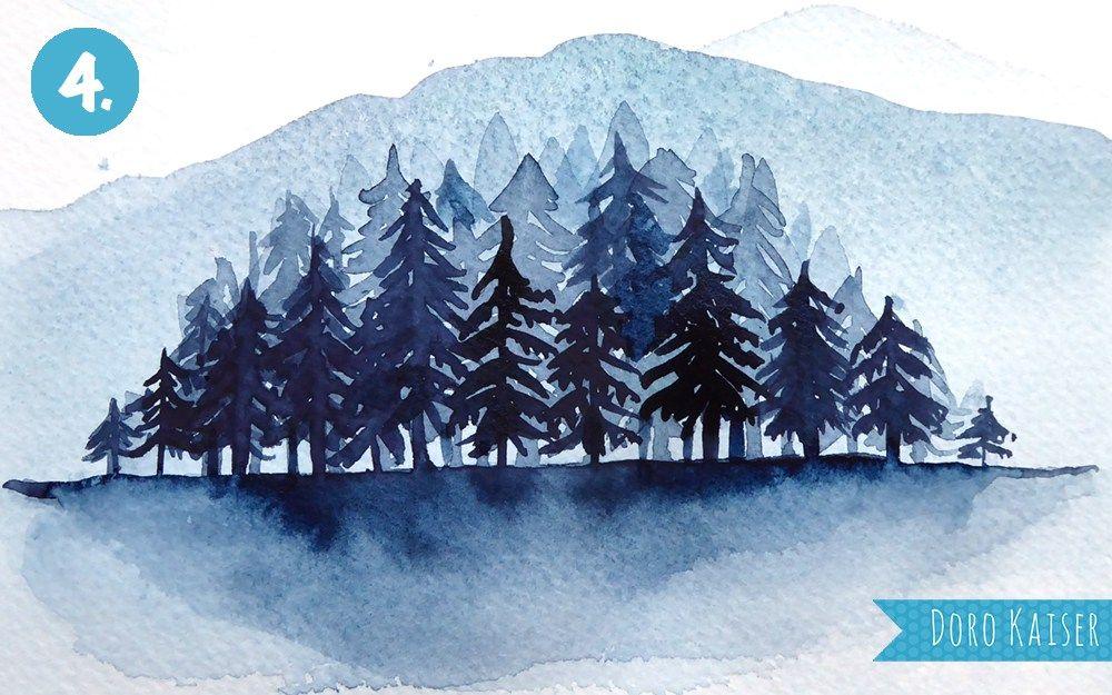 Malen Lernen Mit Aquarell Winterwald Kiefer Kunst Malen Lernen