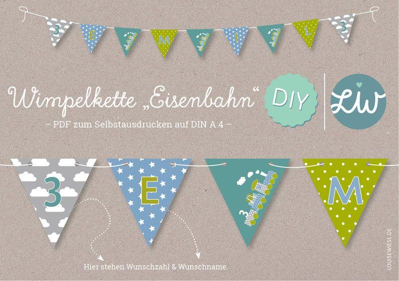 PDF+DIY-Wimpelkette+EISENBAHN+Kindergeburtstag+von+Louise+Wiese+auf+DaWanda.com