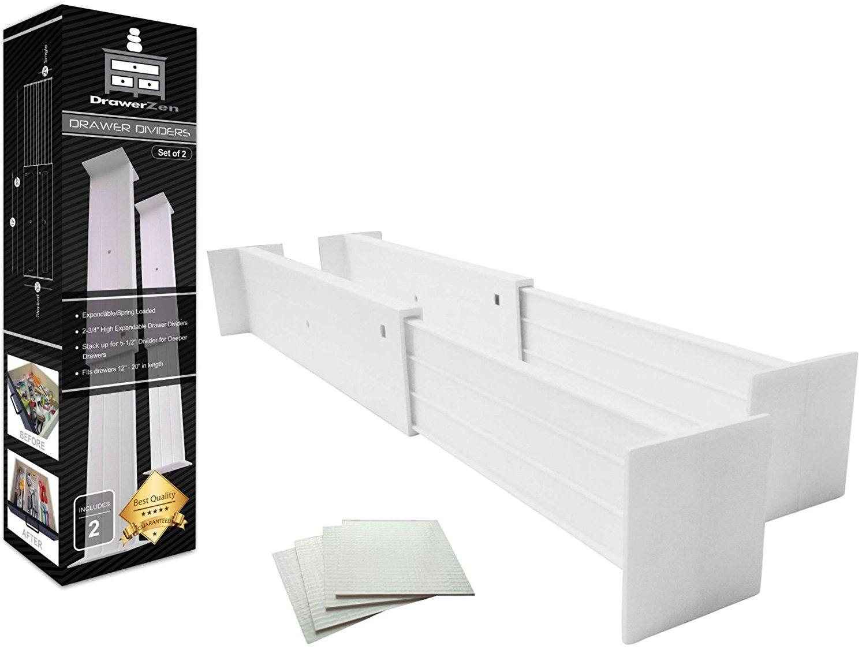 Adjustable Drawer Dividers And Drawer Organizer By Drawerzen Clutter Free Kitchen Bathroom Bedroom D Drawer Divider Kitchen Drawer Dividers Drawer Organisers