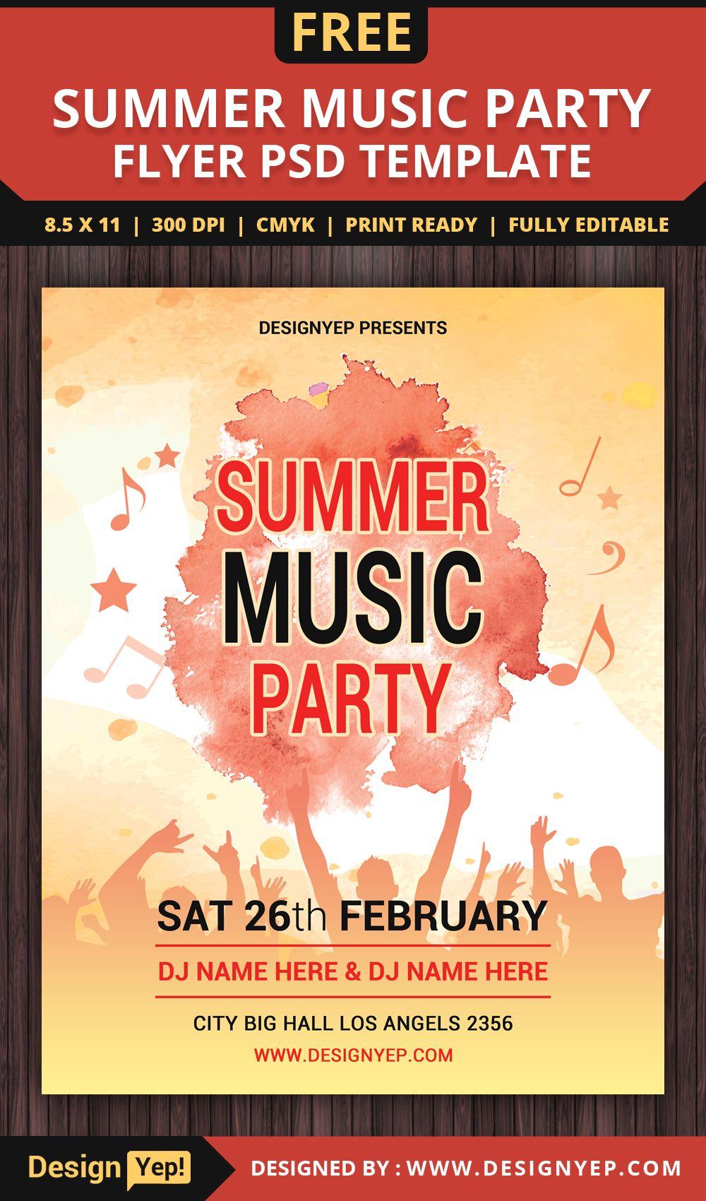 free summer music party flyer psd template desingyep free flyers