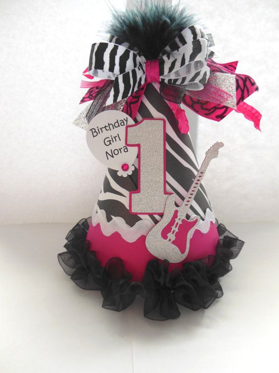 Hot Pink Zebra Lil Rockstar Birthday Party by SandysSpecialtyShop