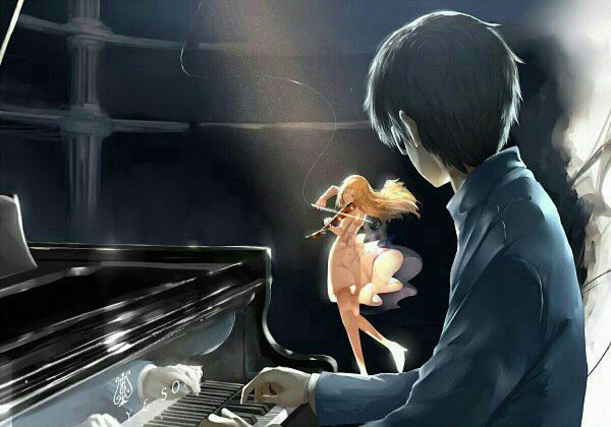 Kaori Kousei Playing Violin Piano Your Lie In April Your Lie In April You Lied Playing Piano