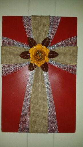 CrossCross on wood wood sign burlap ribbon cross burlap flower decorhome decor