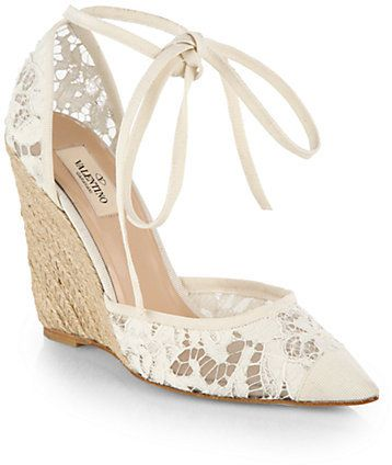 67e9a8559e Valentino Lace Tie-Up Espadrille Wedge Sandals on shopstyle.com ...