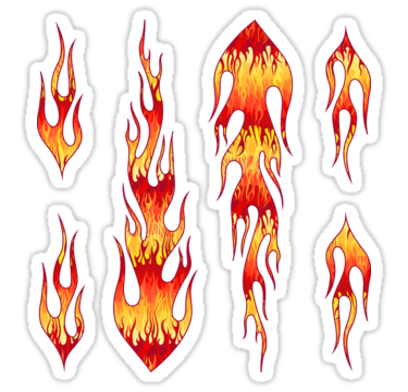 Red Hot Rod Flames Pattern Sticker By Wickedrefined Nicole Demereckis Flame Art Flame Tattoos Red Hot
