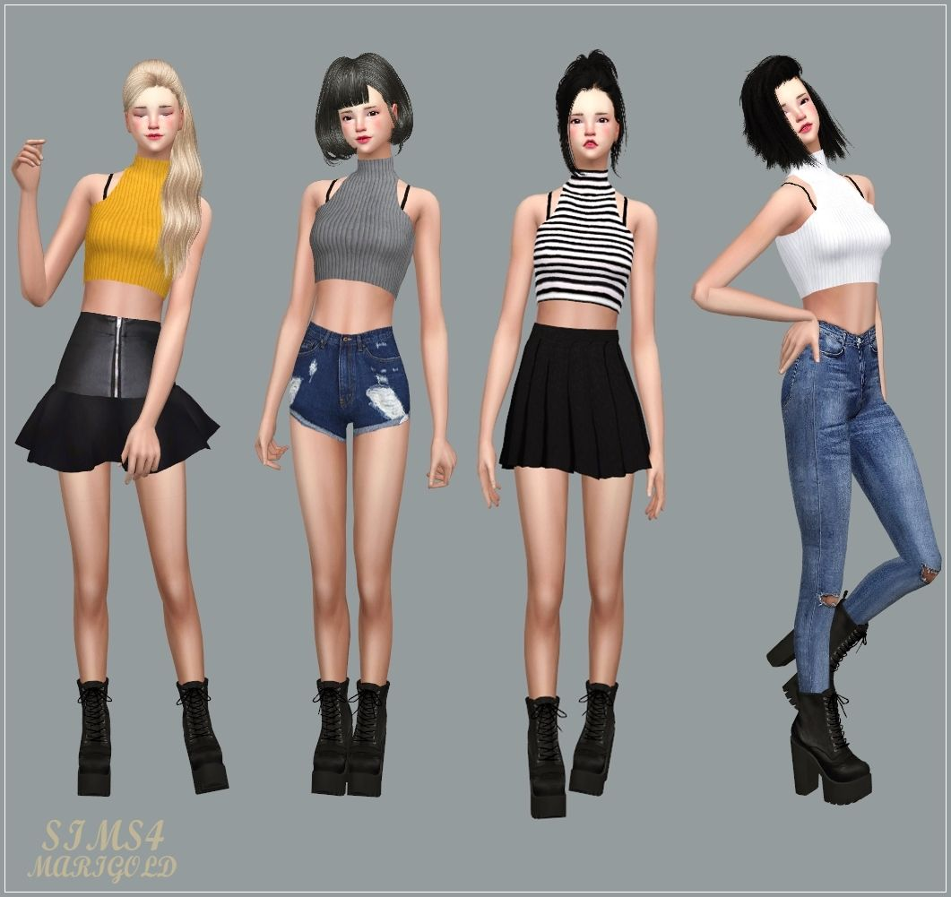 Ruffle Blouse Ruffle Blouse With Bustier Idol Marigold Sims 4 Sims 4 Clothing Sims 4