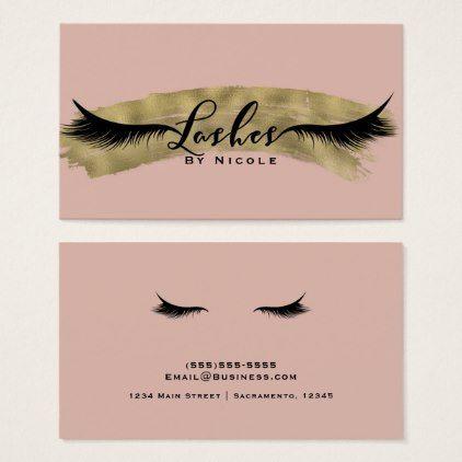 salon pink blush shiny gold modern glam lashes eyelash business card - Eyelash Business Cards