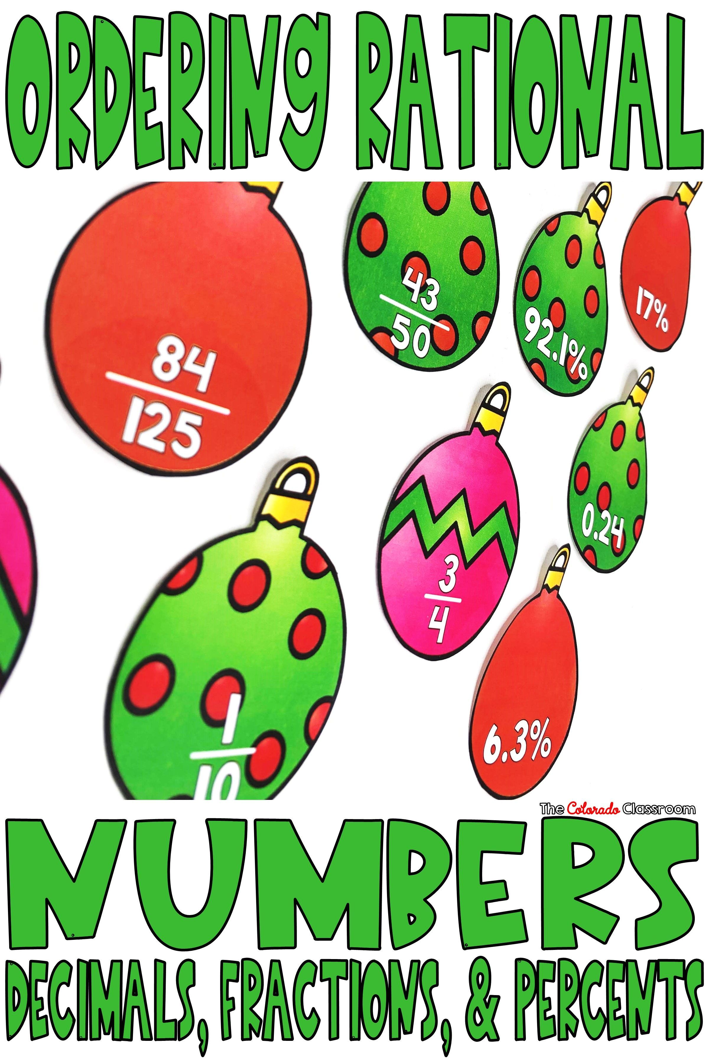 Ordering Rational Numbers Activity