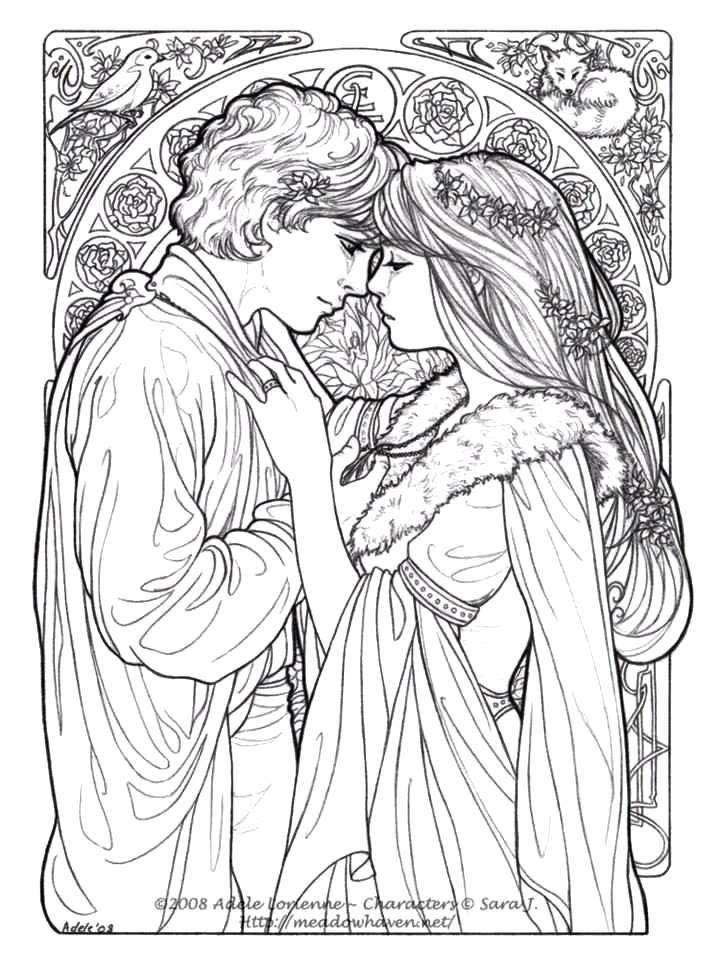Casal romântico medieval para colorir