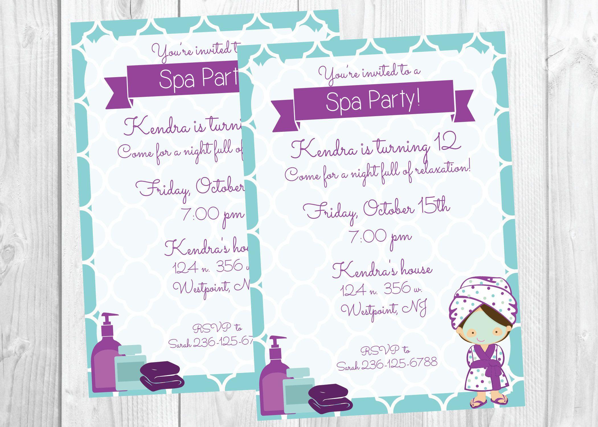 tween spa party invitations | Spa Party Invitation / Teen tween Girl ...