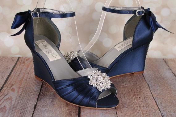 Navy Blue Wedding Shoes Navy Blue Bridal Heels Bow Wedding Navy Wedding Shoes Wedding Shoes Wedge Blue Navy Blue Wedding Shoes
