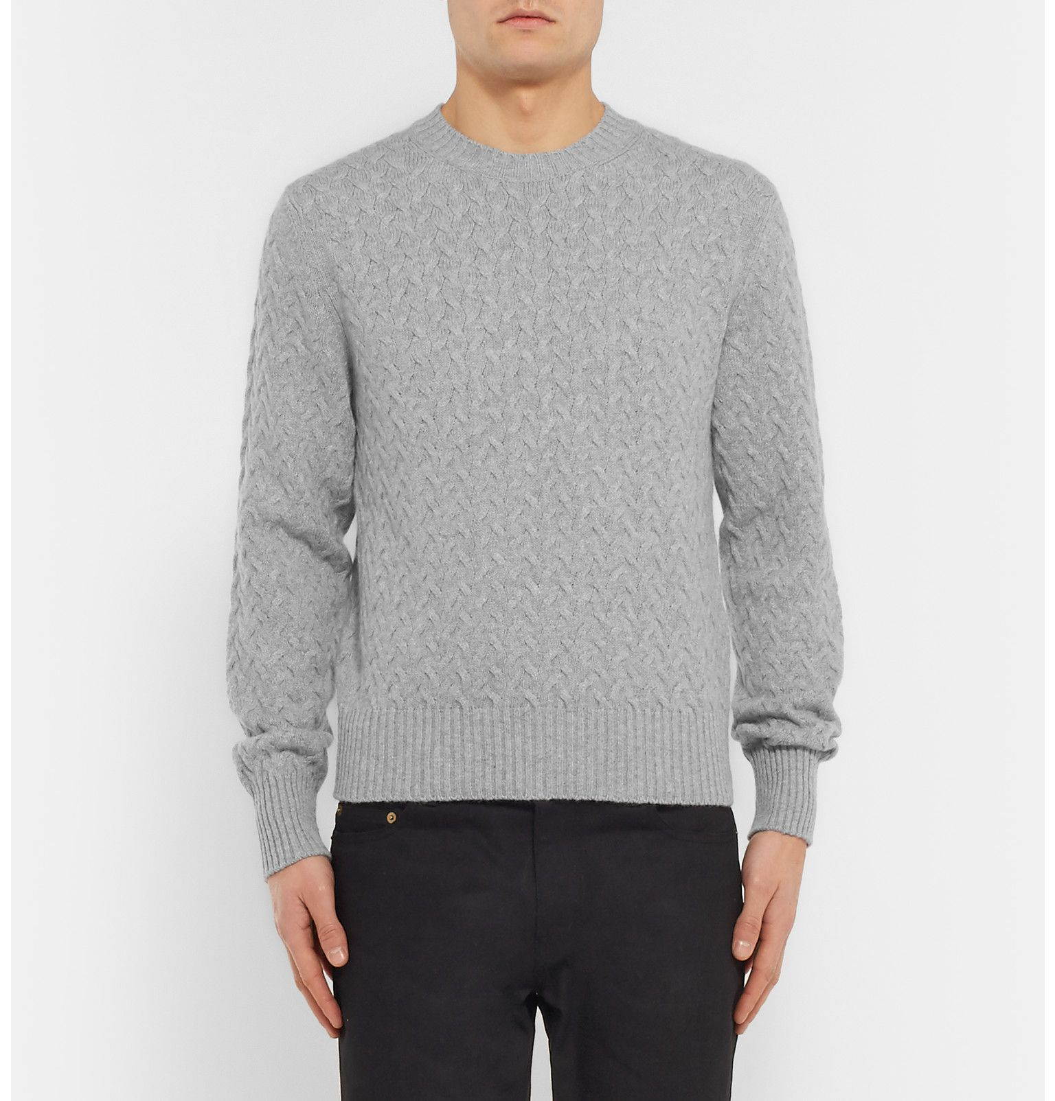 Tom Ford - Slim-Fit Cable-Knit Cotton and Cashmere-Blend Sweater ...