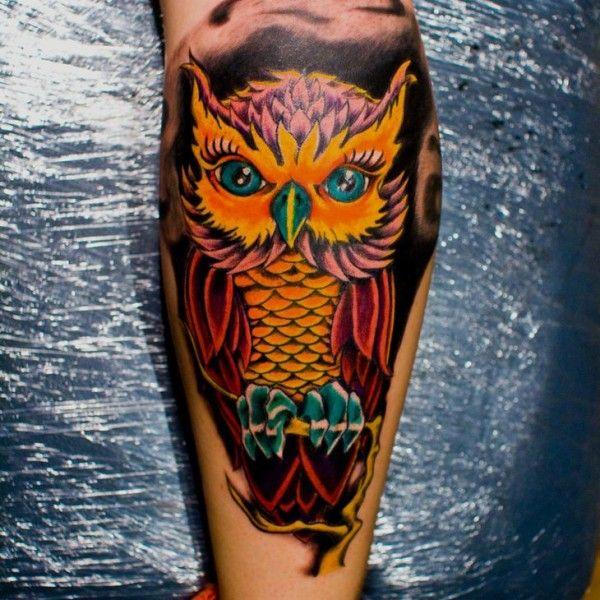 Tc 54de294e82015 Colorful Owl Tattoo On Leg 600x600 Jpg 600 600 Colorful Owl Tattoo Traditional Owl Tattoos Owl Tattoo Small